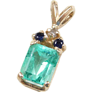 Vintage 14k Gold 1.23 ctw Natural Emerald, Sapphire and Diamond Pendant