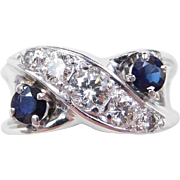 Vintage 14k White Gold 1.30 ctw Sapphire and Diamond Ring