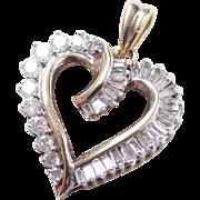 Vintage 10k Gold 1.32 ctw Diamond Heart Pendant