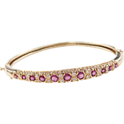Vintage 14k Gold 1.36 ctw Ruby and Diamond Bangle Bracelet ~ 6 3/4""