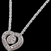 "Beautiful 14k White Gold 1.37 ctw Diamond Heart Necklace ~ 15"""
