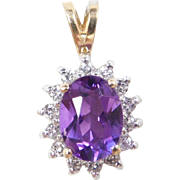 Vintage 14k Gold Two-Tone 1.39 ctw Amethyst and Diamond Halo Pendant