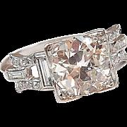 Stunning Platinum Art Deco 1.75 ctw Diamond Engagement Ring All Original