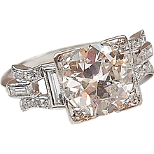 Stunning Platinum Art Deco 1.75 ctw Diamond Engagement Ring All Original