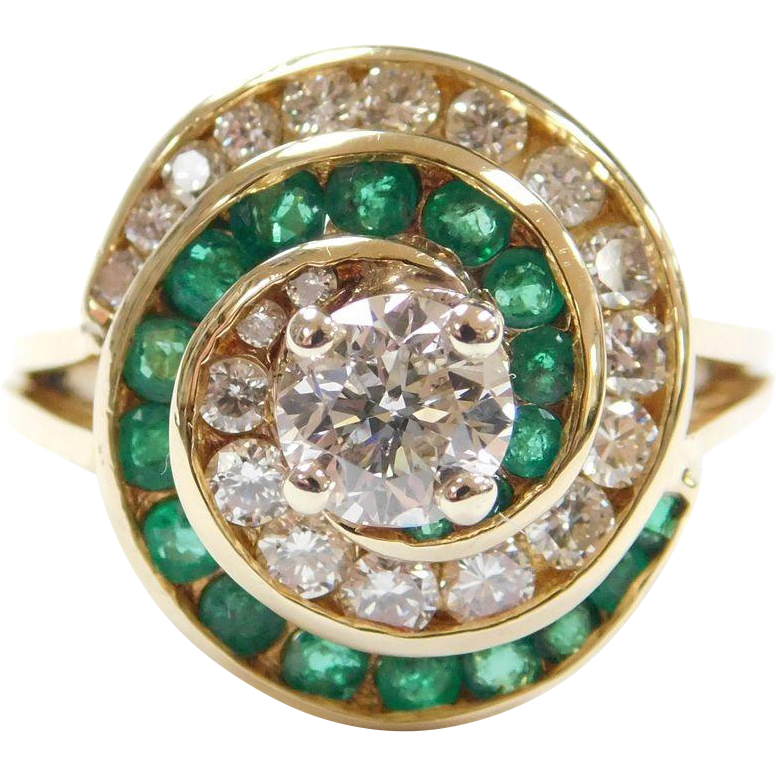 Vintage 18k Gold 1.52 ctw Natural Emerald and Diamond Swirl Ring