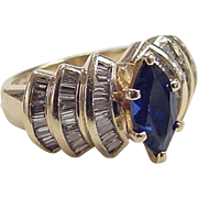 Vintage 14k Gold 1.56 ctw Created Sapphire and Diamond Ring