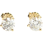 Vintage 14k Gold 1.60 ctw Diamond Stud Earrings