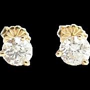 Vintage 14k Gold 1.60 ctw Diamond Stud Earrings