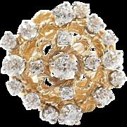 Vintage 14k Gold Big 1.67 ctw Diamond Cluster Ring