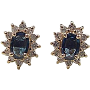 Vintage 14k Gold 1.68 ctw Sapphire and Diamond Stud Earrings