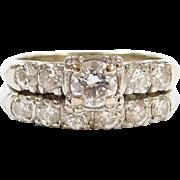 Vintage 1930-40's Diamond Engagement Ring and Wedding Band Set 14k & 18k White Gold