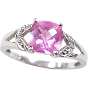Vintage 10k White Gold 1.81 ctw Pink Sapphire and Diamond Ring