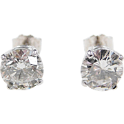 1.91 ctw Diamond 14k White Gold Stud Earrings