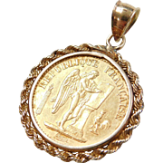 1877 20 Francs Liberty, Equality, Fraturnity Coin Pendant France 14k and 22k Gold