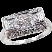 Art Deco 18k White Gold .40 ctw Diamond Ring