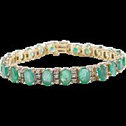 "21.62 ctw Natural Emerald and Diamond 14k Gold Bracelet ~ 6 7/8"""