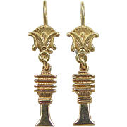 Vintage 20k Gold Asian Pagoda Earrings