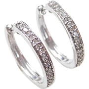 Vintage 10k White Gold .25 ctw Diamond Hoop Earrings