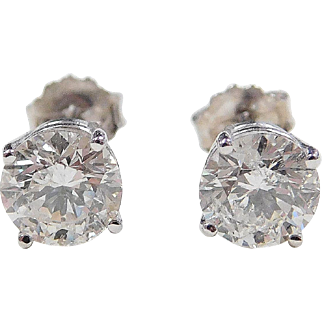 2.02 ctw Diamond 14k White Gold Stud Earrings