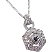 Vintage 14k White Gold 2.00 ctw Diamond and Sapphire Necklace