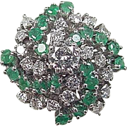 Vintage 14k White Gold 2.10 ctw Emerald and Diamond Ring