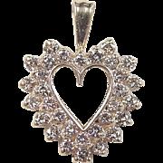 Vintage 14k Gold 2.17 ctw Diamond Heart Pendant