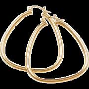 Vintage 14k Gold Big Funky Hoop Earrings