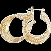 Vintage 14k Gold Big Hoop Earrings