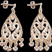 Vintage 14k Gold Heart Chandelier Earrings