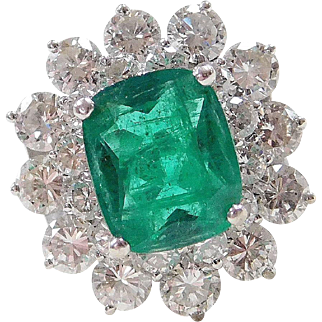 Natural Emerald & Diamond Ring 4.99 Carats Total Gem Weight 14K White Gold circa 1960's