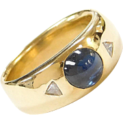 Men's Vintage 18k Gold 2.28 ctw Sugarloaf Natural Sapphire and Diamond Ring