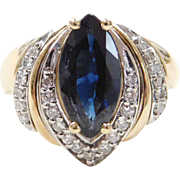 Vintage 14k Gold 2.32 ctw Sapphire and Diamond Ring