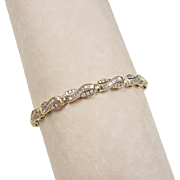 "Vintage 14k Gold 2.34 ctw Diamond Bracelet ~ 7 1/8"""