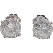 2.34 ctw Diamond 14k White Gold Stud Earrings