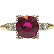 GIA 14k Gold and Platinum 2.41 ctw Created Ruby and Diamond Ring ~ Circa 1940-50's