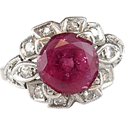 1930's Platinum 2.50 ctw Pink Tourmaline and Diamond Ring