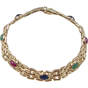 """Vintage 14k Gold 2.60 ctw Natural Ruby, Emerald and Sapphire Bracelet ~ 7"""""""
