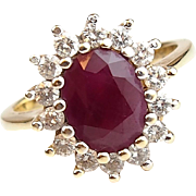 Vintage 14k Gold 2.62 ctw Natural Ruby and Diamond Ring