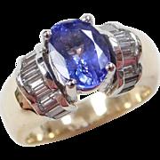 2.65 ctw Natural Tanzanite and Diamond Ring ~ Two-Tone 14k Gold