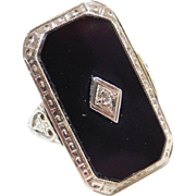Art Deco 14k White Gold Etched Onyx and Diamond Ring