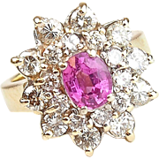 Vintage 14k Gold 2.90 ctw Natural Pink Sapphire and Diamond Ring