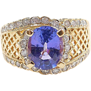 2.99 ctw Natural Tanzanite and Diamond Ring 18k Gold Two-Tone
