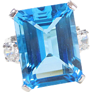 BIG 14k White Gold 30.64 ctw Blue Topaz and Faux Diamond Ring