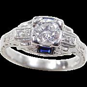 Art Deco Platinum .57 ctw Sapphire and Diamond Ring