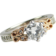 GIA Custom 14k White and Rose Gold Butterfly .94 ctw Diamond Engagement Ring