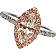 GIA 1.31 ctw GIA Diamond Marquise Halo Engagement Ring 14k White and Rose Gold