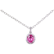 """14k White Gold 1.23 ctw Natural Pink Ruby and Diamond Halo Necklace ~ 18"""""""