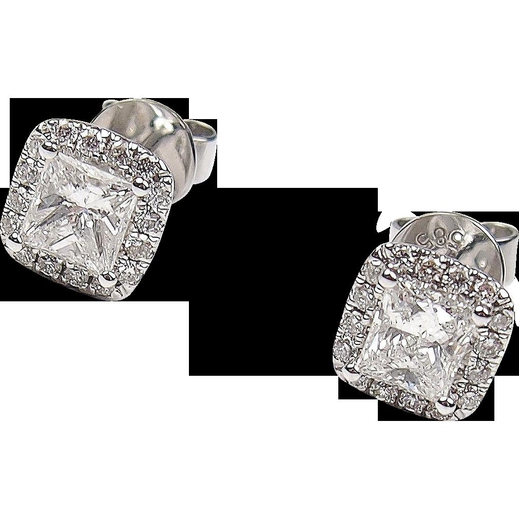 1 09 Ctw Princess Cut Diamond Halo Stud Earrings 14k White