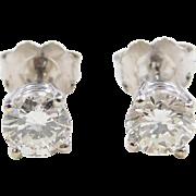Vintage 14k White Gold .92 ctw Diamond Stud Earrings