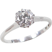 Art Deco Platinum .82 Carat Diamond Solitaire Ring